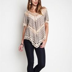 Mocha Crochet Lace Top This beautiful boho top is lightweight with crochet details. Color: Mocha. Sizes: Small, Medium, Large.  To purchase: comment with size and I will create separate listing for you to purchase. Tops