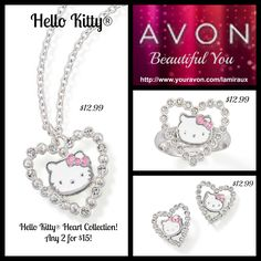 """~ Hello Kitty® ~  SPECIAL OFFER Hello Kitty® Heart Collection! Any 2 for $15!  ** Free Direct Delivery with your $30 Order..  Enter """" FS30REP """" at checkout..   Hello Kitty® Heart Ring http://shop.avon.com/product.aspx?pf_id=49483&level2_id=695&pdept_id=703&dept_id=0  Hello Kitty® Heart Earrings http://shop.avon.com/product.aspx?pf_id=49481&level2_id=695&pdept_id=698&dept_id=0  Hello Kitty® Heart Necklace http://shop.avon.com/product.aspx?pf_id=49482&level2_id=695&pdept_id=701&dept_id=0"""