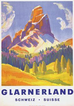 Vintage Travel Poster by Glarnerland F . Meyer: Switzerland