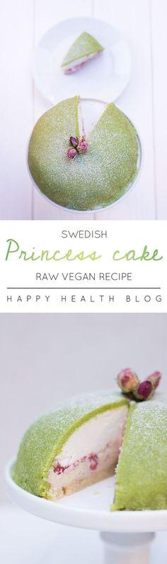 Raw vegan Swedish princess cake - this could be the ultimate vegan cake. Healthy Vegan Dessert, Raw Vegan Desserts, Raw Vegan Recipes, Vegan Dessert Recipes, Vegan Treats, Baking Recipes, Vegan Raw, Sweet Desserts, Healthy Snacks