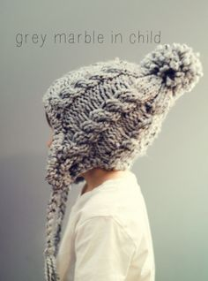 Cable Hat Chunky Knit Adult Beanie Ear Flap Pom by WoolyKnitter, $40.00