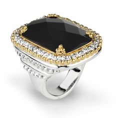 Black Onyx stone set in 0.3 cts Diamonds in 14k Gold and Sterling Silver #VahanPinterest