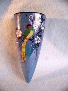 Mid century wall pocket vase blue luster ware lusterware JAPAN 1950s  bird art pottery. $18.99, via Etsy.