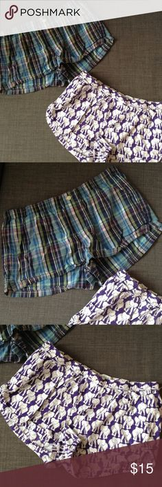 Aerie Size Small Boxer Briefs Elephant Print Boxer, Blue Plaid Boxer, perfect sleep shorts for any girl aerie Intimates & Sleepwear Pajamas