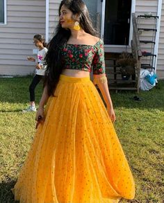 Designer lehenga choli - Image may contain one or more people, people standing and outdoor Lehenga Gown, Lehnga Dress, Indian Lehenga, Party Wear Lehenga, Party Wear Dresses, Blouse For Lehenga, Anarkali, Lehenga Crop Top, Lehenga Wedding