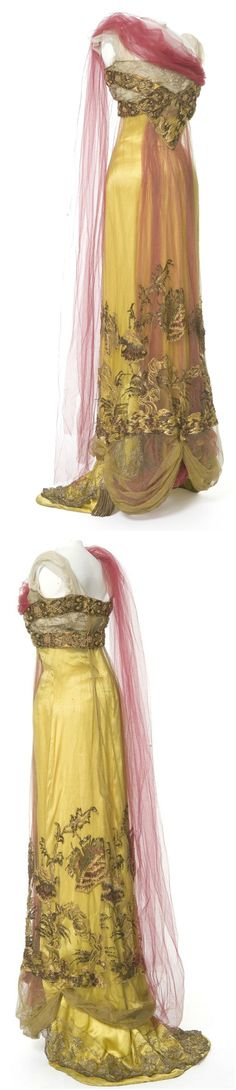 Evening dress by Callot Soeurs, 1907-10, at Les Arts Décoratifs. Photos: Jean Tholance. Via Europeana Fashion.