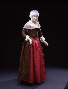 Silk Damask Dress 1780s with pink glazed wool (Calimanco) petticoat and white muslin kerchief, repro sleeve ruffles. On view dressed for 1790-95 in DAR Museum's Agreeable Tyrant exhibit, but this photo in online exhibit agreeabletyrant.dar.org