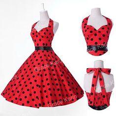 Multi+Style+50s+60s+Vintage +Polka+Dot+Swing+Jive+Rockabilly+Dress+Evening+Dress fe54865bf8b