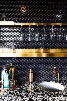 Thinking about setting up a bar in your home? We share some styles, essentials, and resources to help you put together a unique bar area at home. Kitchen Splashback Tiles, Black Backsplash, Backsplash Ideas, Splashback Ideas, Kitchen Countertops, Tile Ideas, Backsplash Design, Dark Tile Floors, Bar Tile