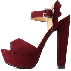 Charlotte Russe Wine Platform Chunky Heel Sandals by Charlotte Russe... ($36) ❤ liked on Polyvore