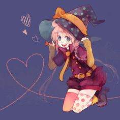 Tags: Anime, Witch, Witch Hat, Pechika, Heart Line