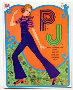 "Vintage Whitman/Mattel Barbie ""PJ"" paper dolls 1971"