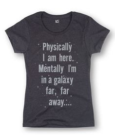 Heather Charcoal 'Mentally I'm In A Galaxy' Fitted Tee