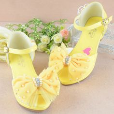 Yellow Beaded High Heel Flower Girl Girls Glitz Pageant Sandals Shoes SKU-133551