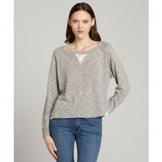 French Connection Grey linen-cotton blend 'Alex' lace trim sweater ($36) ❤ liked on Polyvore featuring tops, sweaters, french connection top, long sleeve sweaters, lace trim sweater, lightweight sweaters and grey top