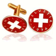 Swiss Red Cross Coin Cuff Links