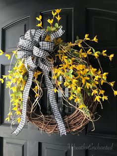 Forsythia Wreath https://www.etsy.com/listing/597154679/forsythia-wreath-front-door-wreath