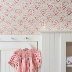 """"""" dreaming of little girls rooms this am - our Chou Chou wallpaper in pink does…"""