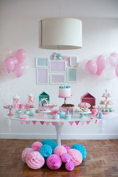 60 Creative Tips for Simple Birthday Decorating Sleepover Party, Pajama Party, Slumber Parties, Baby Party, Baby Shower Parties, Birthday Parties, Cake Table Birthday, Girls Party Decorations, Gender Party