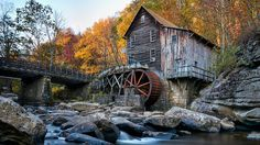 New River Babcock West Virginia Grist Autumn Fall Bridge Outdoor Photography, Landscape Photography, Nature Photography, Better Photography, Scenery Pictures, Cool Pictures, New River, Beautiful Buildings, Beautiful Places