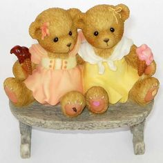 Heidi´s Cherished Teddies Galerie: SHARON and ANITA 2006 Spring - CARLTON CARDS EXCLUSIVE!! - A Double Dip Of Friendship (4005162)