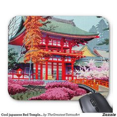 Cool japanese Red Temple Spring Asano Takeji Mouse Pad