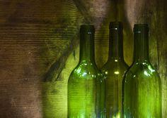 re-purpose wine bottles to serve water.