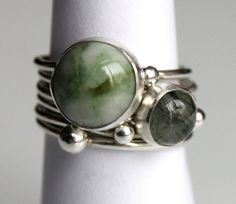 6 Silver Stacking Rings w Jade & Quartz/Tourmaline by MaggiBlue, $120.00