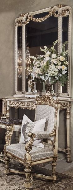Formal Setting with Italian Antiques and Flowers. www.inessa.com | The best vintage home design ideas for your home! See more inspiring images on our board at http://www.pinterest.com/homedsgnideas/
