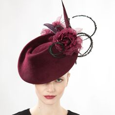 Ruby- Felt Percher Hat with Rose & Feather - Online Store Jane Taylor Millinery Ltd