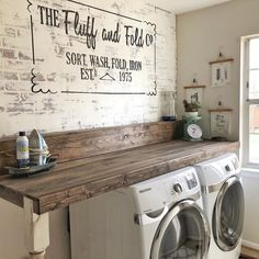 Love the way our laundry room project came out 😍 What is your favorite projec. - Love the way our laundry room project came out 😍 What is your favorite project in your home? Rustic Laundry Rooms, Laundry Room Layouts, Laundry Room Remodel, Laundry Decor, Laundry Room Cabinets, Laundry Room Design, Laundry In Bathroom, Small Laundry, Laundry Room Organization