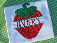 New appliqued personalized strawberry shirt. Soccer Hair Bows, Cheerleading Hair Bows, Cheer Bows, Glitter Hair, Sparkles Glitter, Girl Hair Bows, Girls Bows, Ribbon Flip Flops, Strawberry Shirt