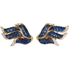 Vintage Trifari Invisibly Set Sapphire Blue & Rhinestone Earrings, Alfred Philippe