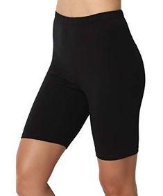TheMogan Women's Mid Thigh Cotton High Waist Active Short Leggings Black L Black High Waisted Shorts, Black Shorts, Black Leggings, Vetement Fashion, Ladies Dress Design, Workout Leggings, Lounge Wear, Gym Shorts Womens, Cute Outfits