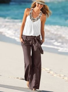 vs: belted linen trouser & stone-embellished halter top...DOES ANYONE KNOW WHERE I CAN GET THIS TOP??!!! I AM DESPERATE TO OWN IT..LOVE IT!! by sonya.farlech