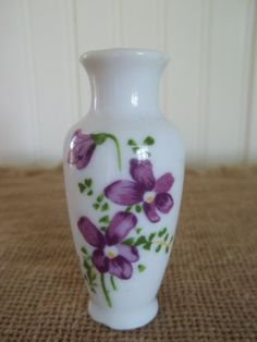 ViNtAgE Miniature Vase/Hand Painted Violets by blissfulfinds, $5.00 ~ 2.5""