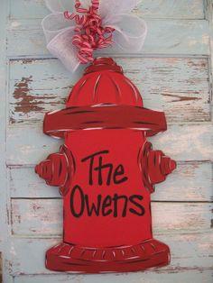 Personalized Fire Fighter Door hanger – would be cute on both of my boys homes Firefighter Crafts, Firefighter Family, Firefighters Wife, Firefighter Clipart, Volunteer Firefighter, Cumple Paw Patrol, Burlap Door Hangers, Do It Yourself Wedding, Wooden Cutouts