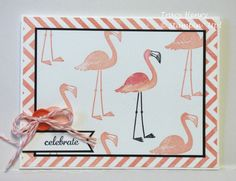 Celebrate One of a Kind,STAMPS: Flamingo Lingo, Express Yourself, Chevron Background INK: Crisp Cantaloupe, Basic Black CARDSTOCK: Whisper White, Basic Black ACCESSORIES: Coral Baker's Twine, Sycamore Street Button, Stampin Write Markers