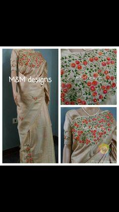 Saree Embroidery Design, Hand Embroidery Stitches, Silk Ribbon Embroidery, Hand Embroidery Designs, Sari Dress, Sari Blouse, Cutwork Saree, Best Blouse Designs, Churidar Designs