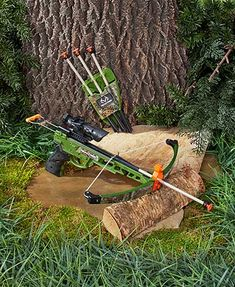 "Perfect your aim with the Realtree 14"" Pistol Crossbow Set. Simply position one of the arrows and pull the trigger to launch it up to 50 ft. away. It features a"