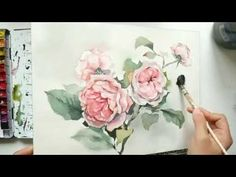 Painting climbing roses in watercolor - YouTube