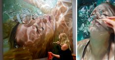In her series Aqua, American artist Reisha Perlmutter paints the most hyperrealistic images of beautiful bathing women. With their heads underwater, eyes closed and bubbles sprouting from their nostrils. Art Hyperréaliste, Hyperrealistic Art, Underwater Painting, Realistic Paintings, Art Design, Art Studios, Artist At Work, Art World, Painting Inspiration
