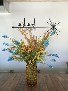 Mid century modern Blenko style amber vase. Available at Mid Mod Collective. Email midmodcollective@gmail.com for info.