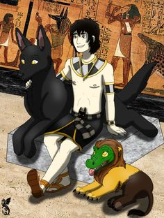 Anubis, Ammit & a jackal guard (Anubis and his pets by nicodiangelo555 on DeviantArt