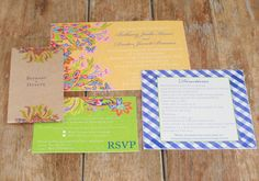 Like these colors - Modern Vintage Wedding Invitation: French Country Flower Custom. $4.05, via Etsy.