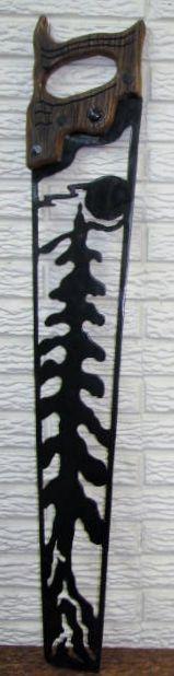 Saw - pine tree & old barn board handle [Saw - pine tree & old barn board] - $55.00 : Glass Moose Cart, handcrafted glass, beads/supplies, jewelry, wood & metal art, signs