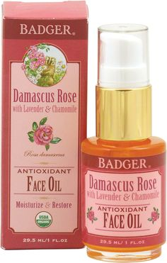 "Badger Balm Damascus Rose Antioxidant Face Oil--natural and very moisturizing. I'm done with toxic anti-aging creams, even so called ""natural"" ones with 50 ingredients. I use this a.m. and p.m. and a sunblock for day. Also rates VERY well on the EWG website for safety. Very happy with this :) ~H"