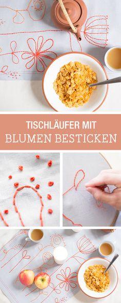 Stickideen für Zuhause: Einen Tischläufer mit Blumen besticken / diy inspiration: floral embroidery via DaWanda.com