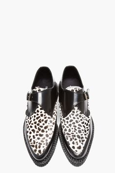 UNDERGROUND Black Leather & Calf-Hair Spotted Leo Creepers