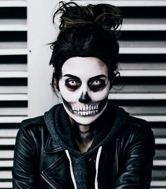 This Is the Coolest Halloween Skull Makeup on the Internet via @ByrdieBeauty